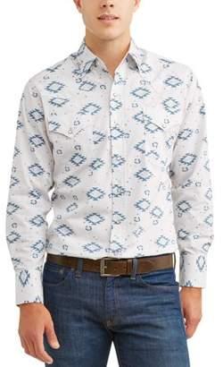Plains Men's Long Sleeve Premium Cotton Paisley Print Shirt