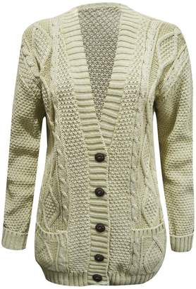 dd7e4e57c3 JanisRamone New Womens Chunky Cable Knitted Buttonup Long Sleeve Grandad  Cardigan Jumper Top