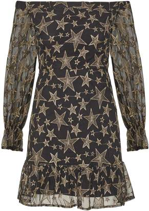 Sam Edelman Star Embroidery Off-The-Shoulder Dress