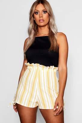 boohoo Plus Stripe Ruffle Waisted Tailored Shorts