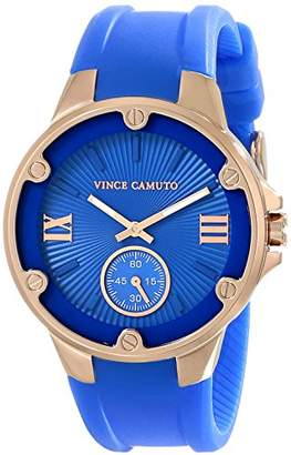 Vince Camuto Women's VC/5078RGBL Rose Gold-Tone Screw Accented Blue Resin Strap Watch