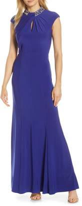 Vince Camuto Embellished Twist Neck Gown