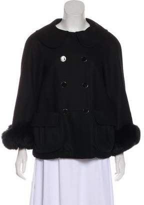 Alice + Olivia Fur-Trimmed Double-Breasted Jacket