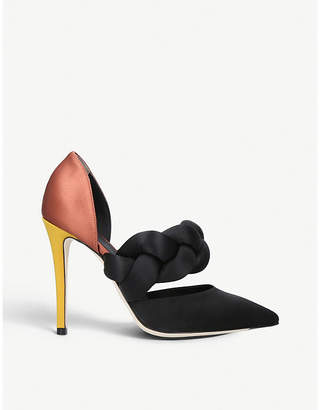 Marco De Vincenzo Braided patent-leather and satin courts