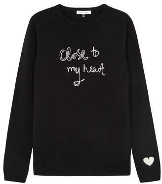 Bella Freud Close To My Heart Black Cashmere Jumper