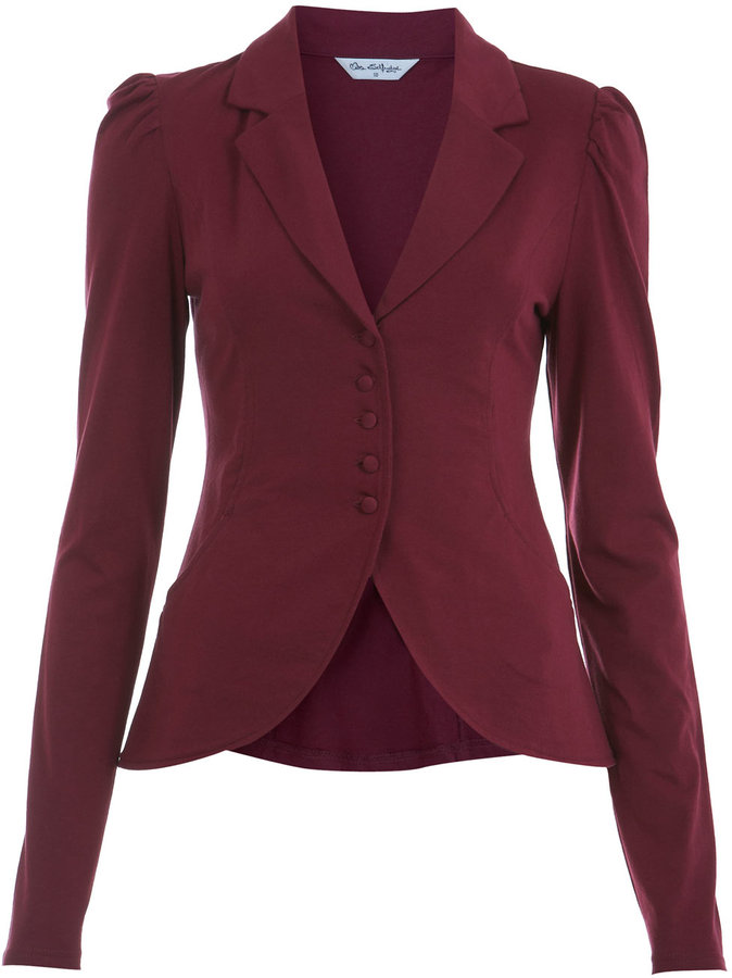Burgundy jersey puff blazer