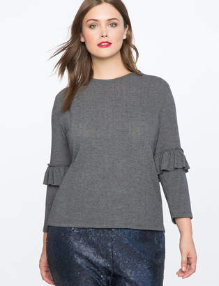 ELOQUII Ruffle Sleeve Hatchi Knit Top