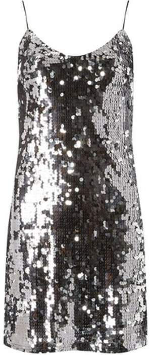 Womens **Silver Sequin Slip Dress