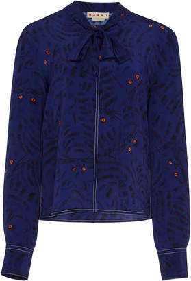 Marni Pussy-Bow Printed Crepe De Chine Blouse