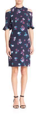 Rebecca Taylor Cold-Shoulder Floral-Print Dress $395 thestylecure.com