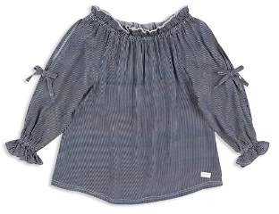 7 For All Mankind Girls' Striped Off-the-Shoulder Top - Big Kid