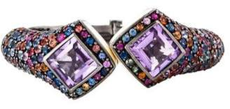 MCL by Matthew Campbell Laurenza Amethyst & Sapphire Enamel Cuff Black Amethyst & Sapphire Enamel Cuff