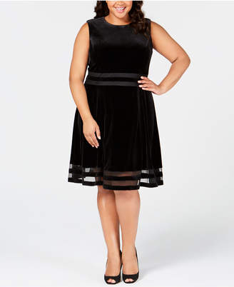 Calvin Klein Plus Size Velvet Illusion A-Line Dress