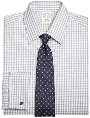 Brooks Brothers Milano Slim-Fit Dress Shirt, French Cuff Heathered Gingham
