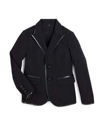 Armani Junior Tribe Faux-Leather-Trim Tuxedo Jacket, Black, Size 7-12 $630 thestylecure.com