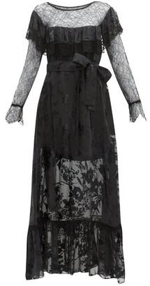 Preen by Thornton Bregazzi Eliane Lace & Devore Floral Chiffon Dress - Womens - Black
