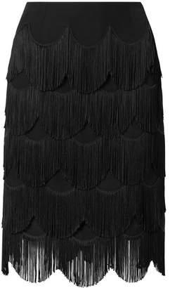 Marc Jacobs Fringed Crepe Skirt - Black