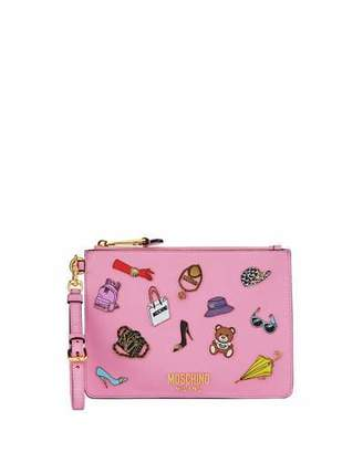Moschino Fashion Pins Zip-Top Flat Clutch Bag, Pink/Multi $595 thestylecure.com