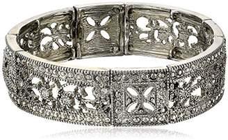 """1928 Jewelry """"Vintage Lace"""" Crystal Filigree Stretch Bracelet"""