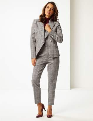 Marks and Spencer Cotton Blend Checked Double Breasted Blazer
