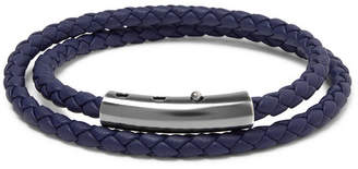 Bottega Veneta Intrecciato Leather And Oxidised Silver-Tone Wrap Bracelet