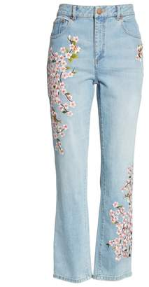 Alice + Olivia Cherry Blossom Embroidery High Rise Slim Jeans