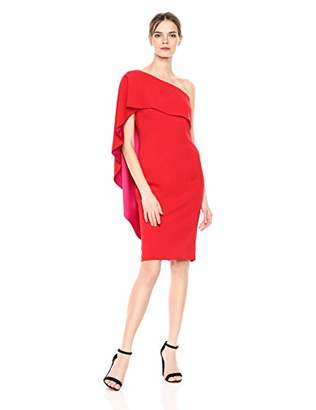 Carmen Marc Valvo Women's One Shoulder Crepe Cape Back Cocktail Dress