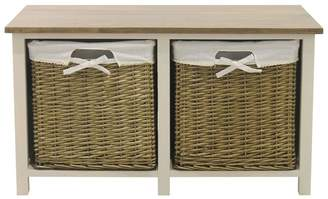 Debenhams Soft White And Wicker 'Cotswold' 2 Drawer Bench