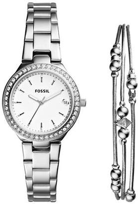 Fossil Blane Stainless Steel Watch and Jewelry Two-Piece Gift Set
