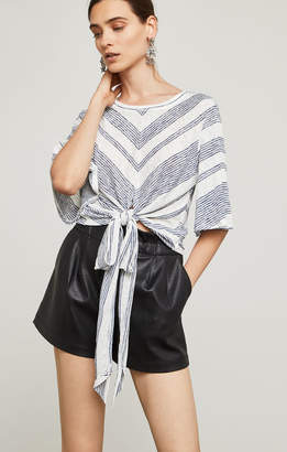 BCBGMAXAZRIA Striped Tie-Front Top