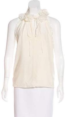 Robert Rodriguez Silk Lace-Trimmed Top