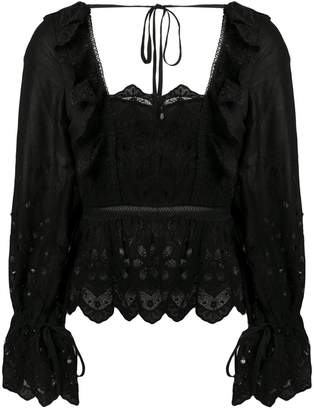Self-Portrait lace embroidered blouse