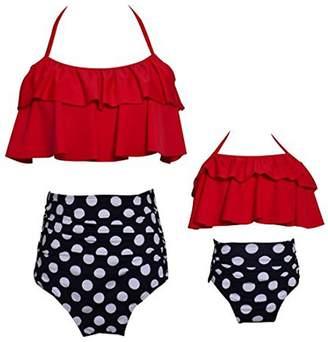 YMING Matching Mother Girl Swimwear Ruffle Bikini Floral Swimsuit Set 10Black/White Mom,S