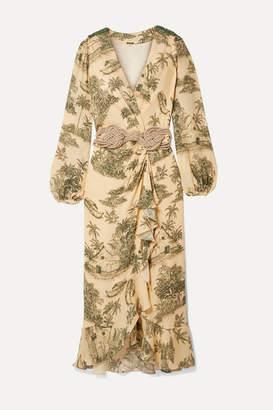 Johanna Ortiz Al Son Del Tambor Embellished Ruffled Printed Silk-crepe Wrap Dress - Ecru