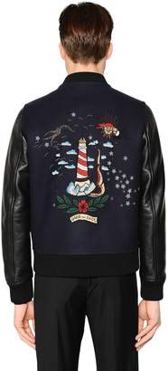 Valentino Tattoo Wool & Leather Varsity Jacket