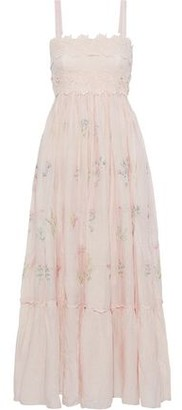 Love Sam Daisy Guipure Lace-appliqued Embroidered Cotton And Silk-blend Maxi Dress