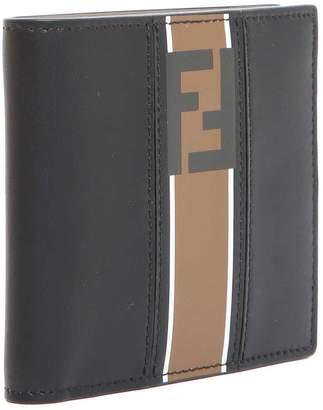Fendi Beige And Black Leather Wallet