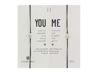 Dogeared You + Me, Crystal On Black Cord Friendship Bracelets, Set of 2