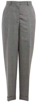 Rochas Tapered Houndstooth Mohair Blend Trousers - Womens - Grey Multi