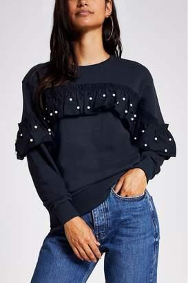 River Island Womens Petite Navy Pearl Ruffle Sweater - Blue