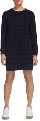 Whistles Flocked Spot Sweatshirt Dress
