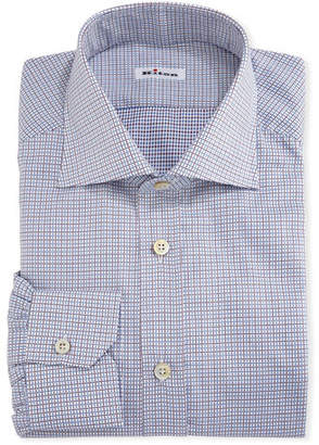 Kiton Graph-Check Cotton Dress Shirt, White/Red/Blue