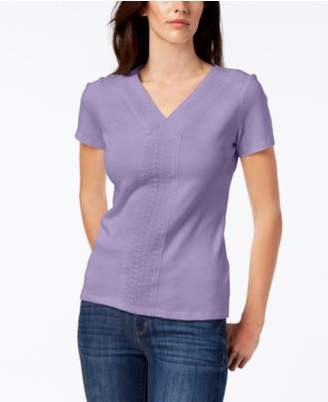 Karen Scott Crochet-Trim T-Shirt, Created for Macy's