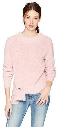 Cable Stitch Women's Split Hem Crewneck Sweater