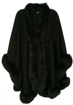 Sofia Cashmere fur trimmed knitted poncho