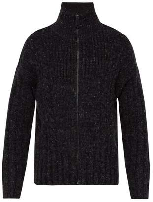 Burberry Zip Through Cable Knit Sweater - Mens - Black