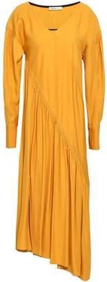 ADEAM Asymmetric Gathered Twill Midi Dress