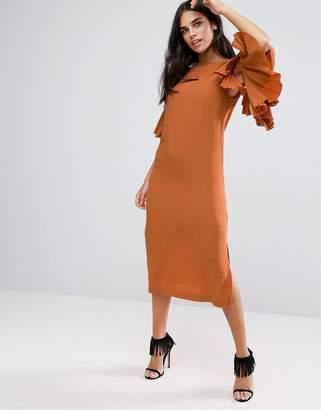 Warehouse Ruffle Midi Dress $98 thestylecure.com