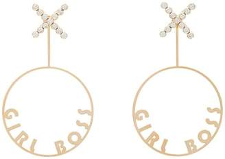 Anton Heunis gold metallic girl boss swarovski crystal embellished hoop earrings