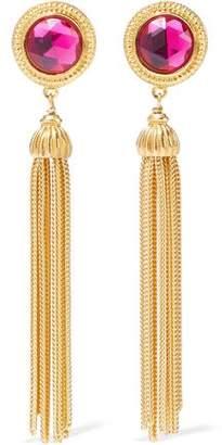 Ben-Amun 24-Karat Gold-Plated Swarovski Crystal Clip Earrings